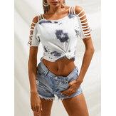 Camisetas informales con hombros descubiertos y estampado tie-dye blanco