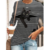 Black Cat Print O-neck Long Sleeve Striped Plus Size Casual T-shirts