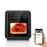 BlitzHome® BH-AO1 1900W 13QT/12L Smart Air Fryer Oven Dual Heating Element 12 Recipes App/Touch Control with Bake Pan, Skewer Rack, Mesh Tray, Rotating Cage, Rotisserie Handle, Rotisserie Bar