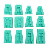 6 Sets 3D Silicona Fondant Cake International Chess Mold Chocolate Cupcake Candy Mold Jabón herramienta