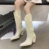Women Embroidered Pointed Toe Chunky Heel High Cowboy Boots