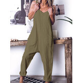 Solid Color Spaghetti Straps Cotton Jumpsuit med lommer