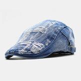 Unisex Πλυμένο τζιν με τρύπες, ρετρό σκουλαρίκι, μπροστινό καπάκι, μπερέ καπάκι, επίπεδη καπέλο