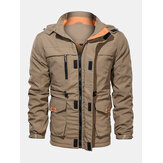 Mens Cotton Pocket Zip-Up Thick Lined Drawstring Waist Hooded Jacket