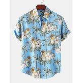 メンズファッションパイナップル印刷通気性半袖カジュアルシャツ