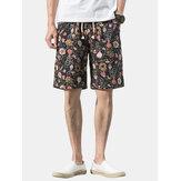 Cotton Mens Floral Print Pocket Drawstring Casual Shorts