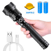 XANES XHP70.2 9000LM Zoomable LED Flashlight Kit with 2x 26650 Li-ion Battery USB Rechargeable Super Bright LED Searchlight For Cycling Fishing Hunting