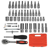 53Pcs Car Motorcycle Repair Tool Deep Socket Ratchet Wrench Screwdriver Head Set