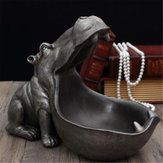 Hippopotamus Estátua Resina Ornamentos Snack Key Storage Table Home Office Decorações de Arte