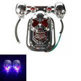 Motorcycle Quad ATV Turn Signal Rear Brake Tail Light Chrome Skull
