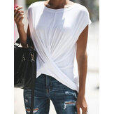 Women Casual Solid Color O-neck Short Sleeve Crossed T-shirt