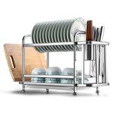 A cremalheira de armazenamento de cozinha de aço inoxidável de dupla camada armazena o arranjo doméstico para pratos de cozinha