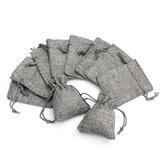 10PCS Grey Burlap Bags Jute Hessian Drawstring Sack Small Wedding Favor Gift