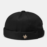 Unisex Brimless Hats Solid Color Coconut Tree Label Skull Caps
