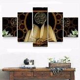 5 unidades de pinturas em tela de pintura Qur'An Óleo Pintura de parede de impressão decorativa de arte Imagem sem moldura Decoração de escritório doméstico