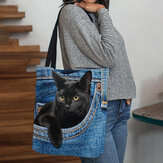Women Felt Cute 3D Three-dimensional Black Cat Inside Jeans Pattern Shoulder Bag Handbag Tote