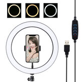 PULUZ PU407 12 Inch 3200K-6500K Dimbare LED Video Ring Light met telefoonclip voor Selfie Vlog Tik Tok Youtube Live Streaming