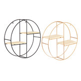 Nordic Geometric Wood Iron Estante de pared Planta Pantalla Rack Storage Cafe Decoraciones para el hogar