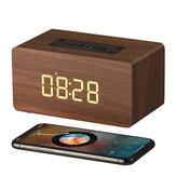 W5C bluetooth 4.0 sans fil BT Mini haut-parleur en bois portable LED horloge d'affichage haut-parleurs en bois pour ordinateur portable téléphone tablette