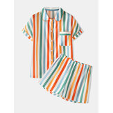Colordul Stripe Button Up Short Sleeve Shorts Home Casual Pajama Set For Women