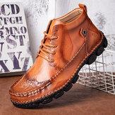 Sapato de couro genuíno com especiarias de tamanho grande costura à mão Soft Botas de tornozelo casuais com sola