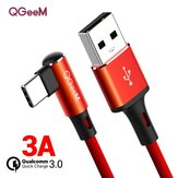 QGEEM QG-CC15 USB Type C Data Cable 90 Degree Eblow Fast Charging Wire Cord For Huawei P30 P40 Pro Mi10 Note 9S OnePlus 8Pro