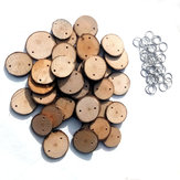 40Pcs Round Laser Engraving Wooden Slices Sheet With 40 Iron Loop Set For Birthday Reminder DIY Hanging Wood Plaque Decorations
