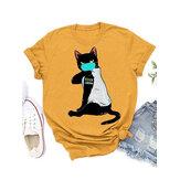 Karikatür Maskeleri Kedi Baskı Kişiselleştirilmiş Kısa Kollu Gevşek Rahat T-shirt
