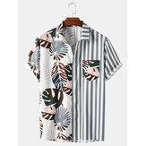 Полосатая мужская рубашка с короткими рукавами и полосатым принтом в полоску