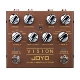 JOYO R-09 Vision Pedal de guitarra multiefecto de doble canal Soporte de pedal de modulación Entrada y salida estéreo 9 efectos True Bypass