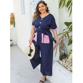 Plus Size Button Short Sleeve Causal Full-length Jumpsuit