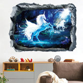 Miico Creative 3D Unicorn Broken Wall Verwijderbare Home Room Decoratieve muur Decor Sticker