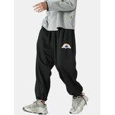 Jogger de cintura media con cordón suelto y estampado de arcoíris sólido de 100% algodón para hombre Pantalones
