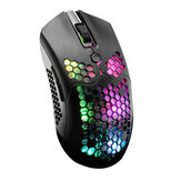 Free-wolf X2 2.4G Wireless Gaming Mouse Hollow Honeycomb Rechargeable 12000DPI 7 Buttons Ergonomic RGB Optical Mice for Computer Laptop PC Gamer