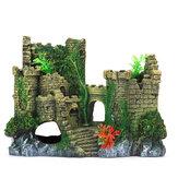淡水および塩水アクアリア用のグラスフラワーを備えた水槽城合成樹脂シミュレートされた城の形状