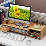 4 Colors 2 Tiers Multi-function Desktop Wooden Computer Monitor Riser Stand Laptop Screen Riser Wood Shelf Keyboard Desk Storage Rack