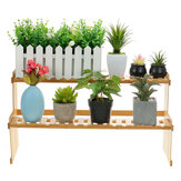 2 Tiers Succulent Plant Flower Bonsai Pot Shelf Display Storage Desk Rack Holder Mini Bookshelf