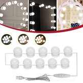 10PC USB Hollywood LED Bombilla vanidad Maquillaje Kit de luz de espejo regulable DC5V