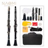 NAOMI Professional Bb 17-Tasten-Klarinette ABS Klarinette Cupronickel Nickel Satz mit Klarinette + Stimmzungen + Riemen + Gehäuse + Komponenten