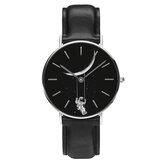 Casual Style Men Watch Cartoon Astronaut Print PU Leather Strap Clock Quartz Watches