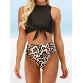 Women Leopard Print Tie Front High Neck Hot High Waist Bikini
