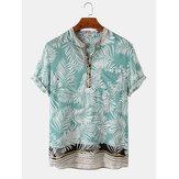 Banggood Design Homens Rayon Tropical Folha Borda étnica Impressão Henley respirável Camisas