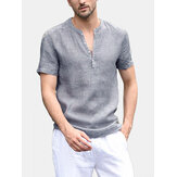 Mens Summer Casual Stripe Short Sleeve Cotton Tops T Shirts