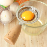 KC-ES029 Stainless Steel Egg Separator Smile Wood Handle Egg White Yolk Divider Kitchen Tools