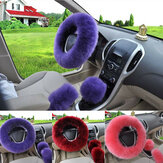 3Pcs 38cm Wool Car Steering Wheel Covers Winter Warm Cushion Universal