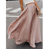 Boho Elastic Waist Pleated Skirts