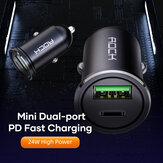 ROCK H12 PD 24W 4.8A Dual Ports USB + Type-C Fast Charging Car Charger for iPhone 12 Pro Max for Samsung Galaxy Note S20 ultra Huawei Mate40