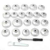 23pcs Cup Type Aluminium Zilver Olie Filter Wrench Verwijdering Socket Remover Tool Kit AU