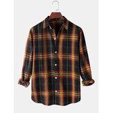 Erkek Classic Tweed Plaid Print Yaka Yaka Uzun Kol Günlük Gömlek