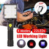 15W LED Luz de trabalho magnética 4 modos dobrável recarregável garagem carro lanterna lanterna elétrica